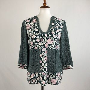 Boden Mixed Pattern Print Tunic Style Top